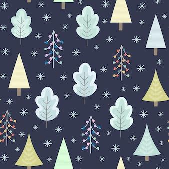 Зимний лес ночью бесшовный фон на рождество