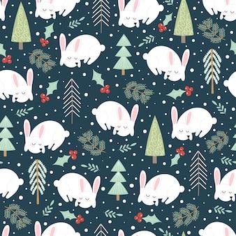冬の森のかわいい眠っているウサギ。クリスマスのシームレスパターン。ベクトルイラスト