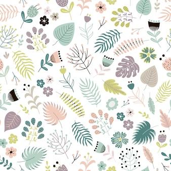花、植物、葉と花のシームレスなパターン