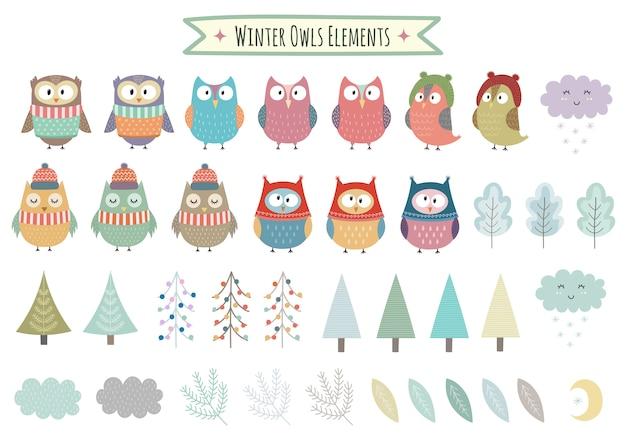 Векторный набор милые зимние элементы - совы, деревья, бранчи, облака и листья. рождественская коллекция клипартов