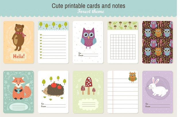 かわいい印刷可能なベクトルカードとメモのセットです。森のテーマ