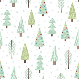 かわいいクリスマスツリーのシームレスパターン。ベクトルイラスト