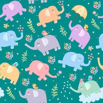 象のシームレスなパターン。かわいい幼稚なスタイル