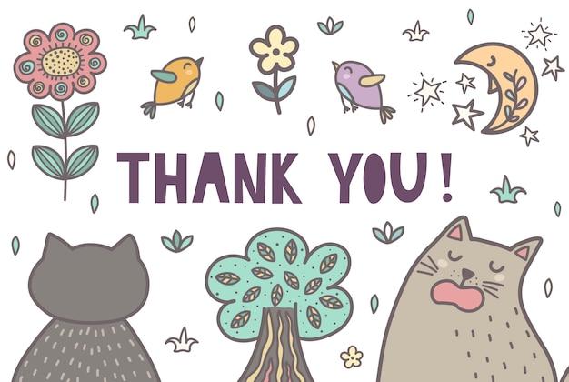 かわいい猫と一緒にありがとうカード。ベクトルイラスト
