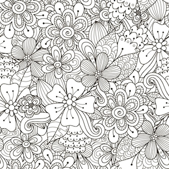 花落書き黒と白のシームレスパターン