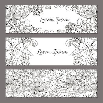 花の落書きバナーを設定します。あなたのデザインの黒と白の美しいチラシテンプレート。ベクトルイラスト