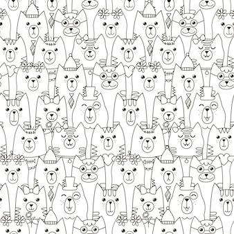 かわいい猫のシームレスパターン。