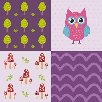 かわいいフクロウとベビーシャワーのパターン
