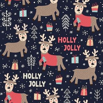 かわいい鹿とクリスマスのシームレスなパターン。