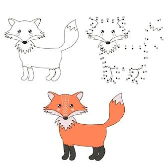 Милый мультфильм лиса. раскраска и точка в точку развивающая игра
