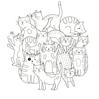 Узор в форме круга с милыми кошками для раскраски