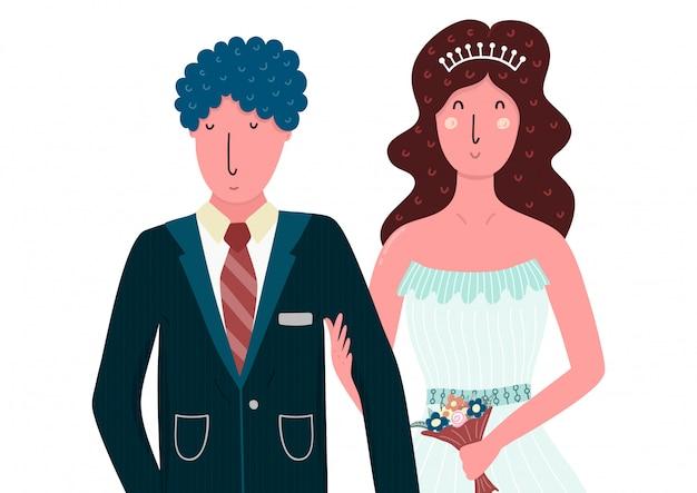 新郎新婦の幸せなカップル。フラットスタイルの孤立した人々