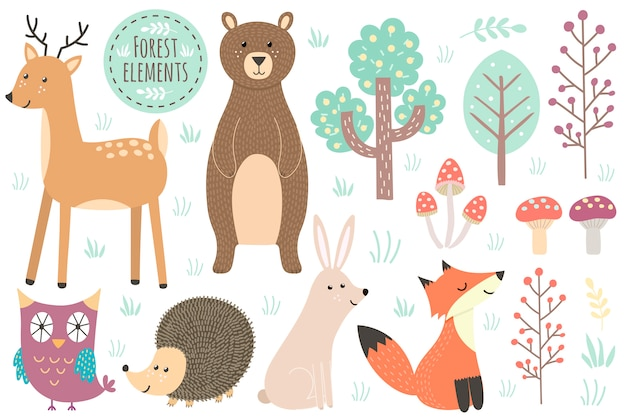 Набор милых лесных элементов - животных и деревьев.