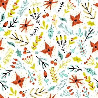 クリスマスの花と植物のシームレスパターン