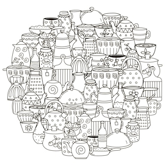 Узор в форме круга с посудой для раскраски