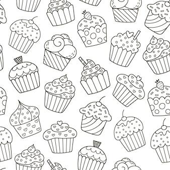 モノクロのカップケーキのシームレスパターン