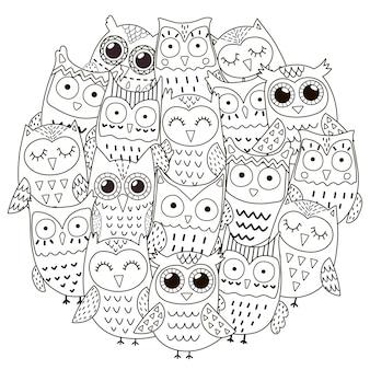 Узор в форме круга с милыми совами для раскраски