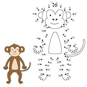 Соедините точки, чтобы нарисовать милую обезьяну и раскрасить ее. обучающие цифры и раскраски