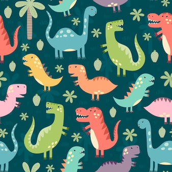 面白い恐竜のシームレスパターン。