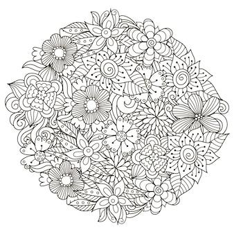 Узор в форме круга с милыми цветами для раскраски