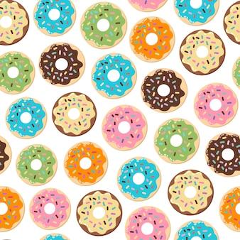 かわいいドーナツのシームレスパターン