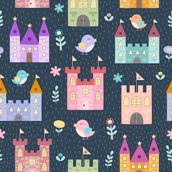 ファンタジーの城と小鳥のシームレスなパターン。幼稚なスタイルのテクスチャ
