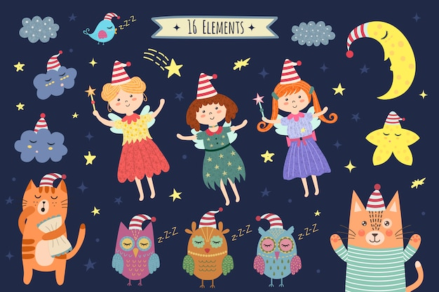 おやすみかわいい月、雲、妖精、フクロウ、猫と要素を分離しました。