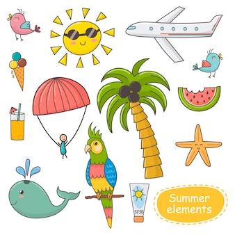 Летнее время установлено. элементы темы отпуска.
