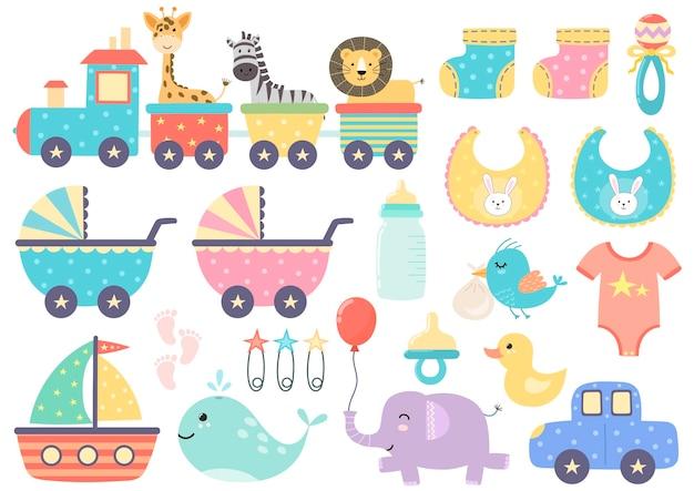 Симпатичный изолированный поезд в двух вариантах - с забавными животными и без них.