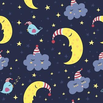 おやすみシームレスパターン。