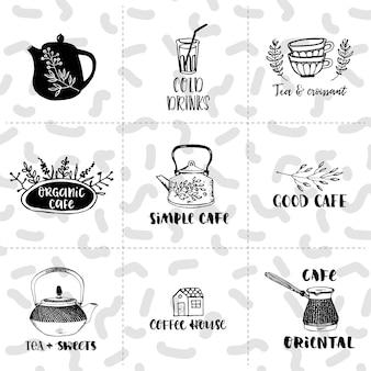 カフェの手描きロゴセット