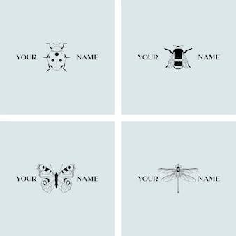 昆虫のロゴのテンプレート