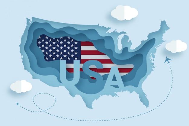 旅行のポスターのアメリカテキスト紙カットスタイルイラスト