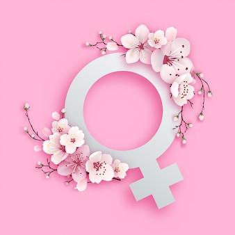 桜の花を持つ女性のシンボル紙カットデザイン