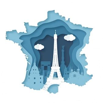 フランス・パリ。トップトレンドの世界的に有名なランドマーク。紙カットスタイルのベクトル図