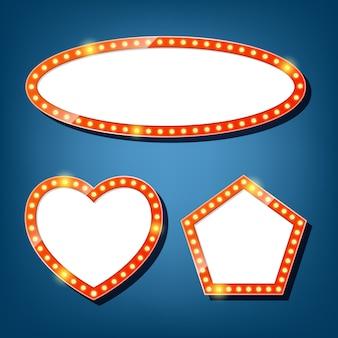 電球の看板。楕円形、ハート、五角形のレトロなライトフレーム。