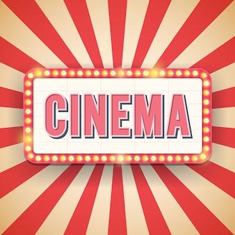 Кинотеатр рекламный щит с электрическими лампочками.