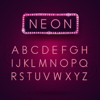 輝くネオンアルファベット