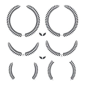 月桂樹の花輪レトロビンテージプレミアム品質イラスト
