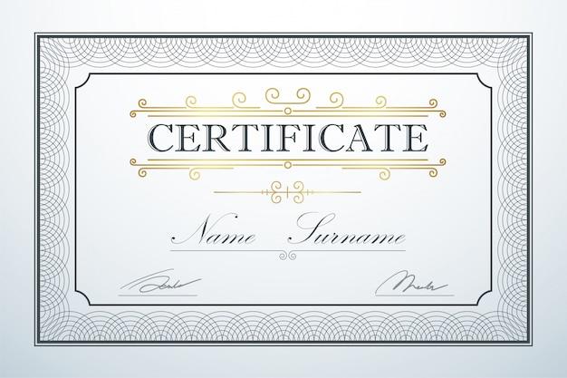 証明書カードフレームテンプレートガイドデザイン。レトロビンテージ高級認証
