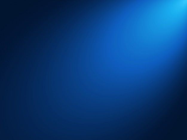コーナーからスポットライトの輝く効果でグラデーションブルーの背景