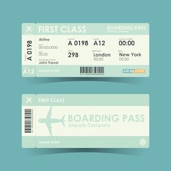 Билеты на посадочный талон зеленого дизайна.