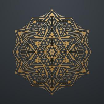 高級ゴールド抽象的な幾何学的なマンダラアートパターン。黒い背景に。ベクトルイラスト