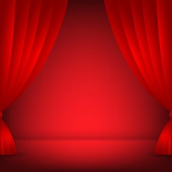 ステージ、赤の背景
