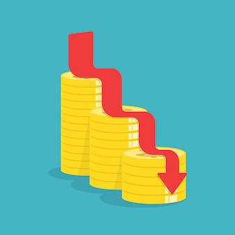 ゴールドコイン、アイデアコンセプトと下矢印。