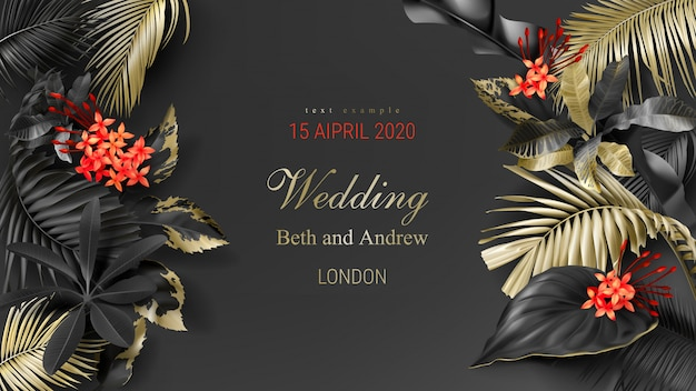 Шаблон свадебного приглашения с тропическими черными и золотыми листьями