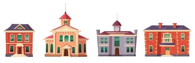 都市のレトロなコロニアルスタイルの建物漫画