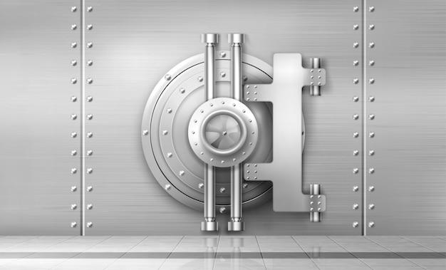 Банковский сейф и дверь хранилища, металлические стальные круглые ворота