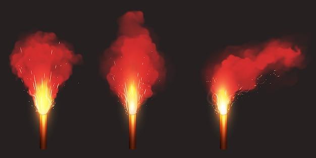 赤いフレア、非常信号灯を燃やす