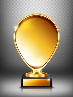 カップ、ネームプレート付きの台座の上の黄金のトロフィー